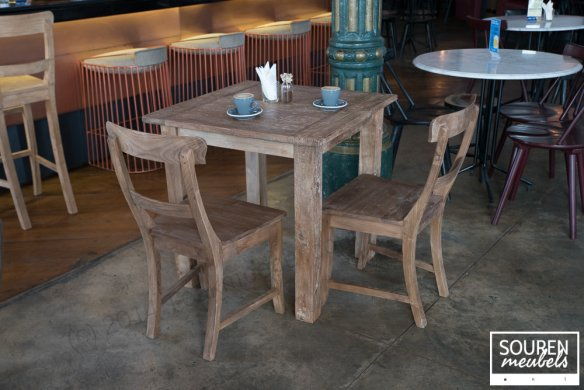 Teak table dingklik 80x80 + 2 chairs - Picture 0