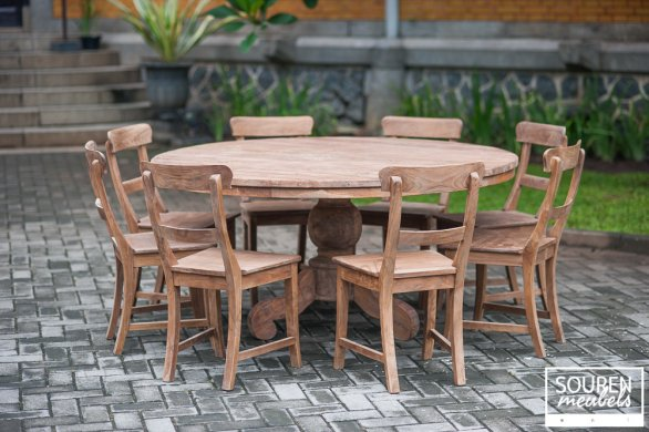 Round teak table 160 + 8 chairs - Picture 0