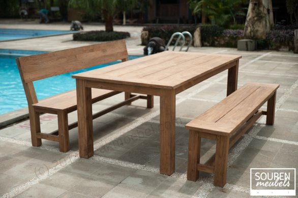 Teak gardentable 200x100 + 1 x bench Sandaran + 1 x bench 200 - Picture 0