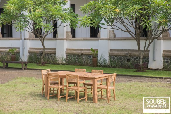Teak gardentable 200x100 + 6 chairs Bali - Picture 0