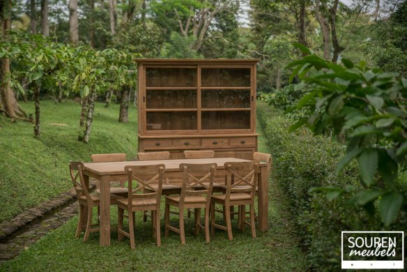 Teak table 200x100 + 8 chair cross + cabinet 200 - Picture 0