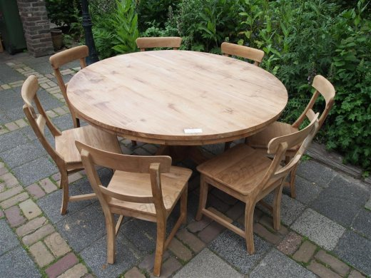 Round teak table Ø 150 cm - Picture 8