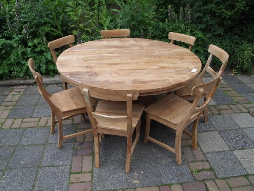 Round teak table Ø 150 cm - Picture 7