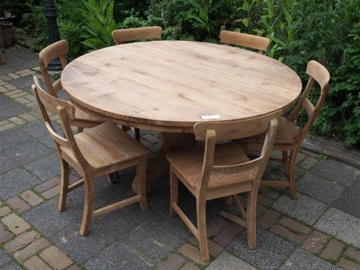 Round teak table Ø 150 cm - Picture 9