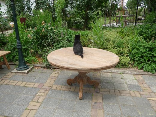 Round teak table Ø 140 cm reclaimed - Picture 7