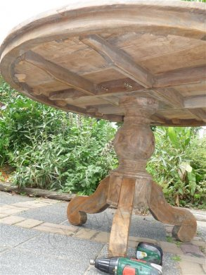 Round teak table Ø 140 cm reclaimed - Picture 5