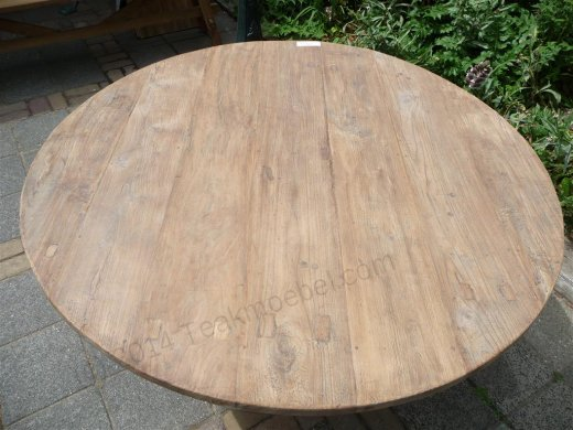 Round teak table Ø 140 cm reclaimed - Picture 4