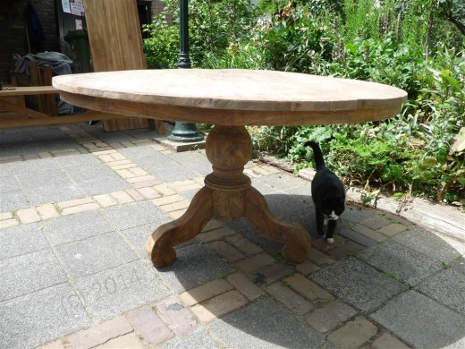 Round teak table Ø 140 cm reclaimed - Picture 3