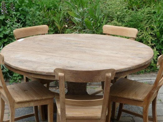Round teak table Ø 140 cm reclaimed - Picture 1