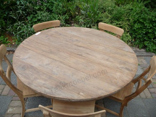Round teak table Ø 140 cm reclaimed - Picture 2