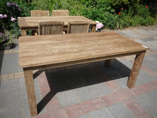 Teak dining table 180 x 90 old brushed - Picture 8