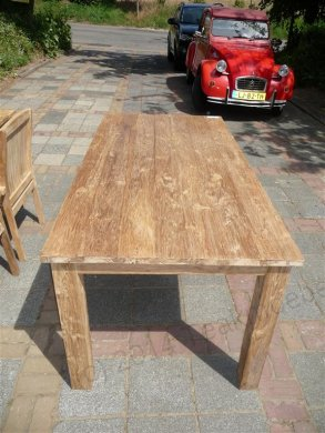 Teak dining table 180 x 90 old brushed - Picture 0