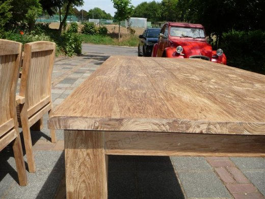 Teak dining table 180 x 90 old brushed - Picture 1
