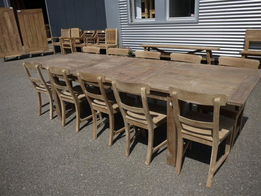 Teak table  200 - 250 - 300 x 100 cm reclaimed - Picture 3