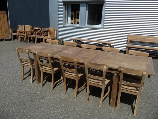 Teak table  200 - 250 - 300 x 100 cm reclaimed - Picture 2
