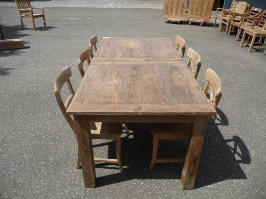 Teak table  200 - 250 - 300 x 100 cm reclaimed - Picture 1