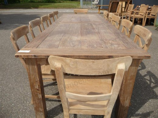 Teak table 300 x 100 cm reclaimed - Picture 8