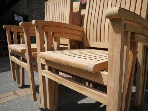 Teak garden chair stacking - Picture 3