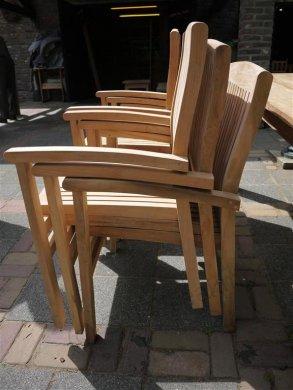 Teak garden chair stacking - Picture 4