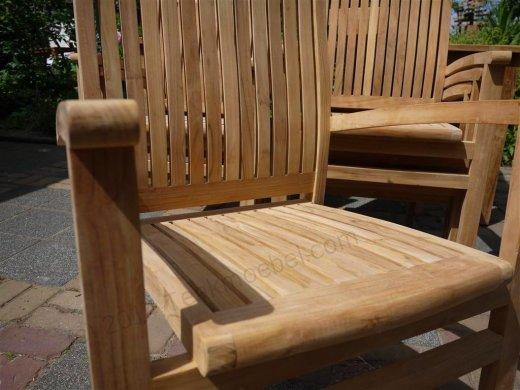 Teak garden chair stacking - Picture 5