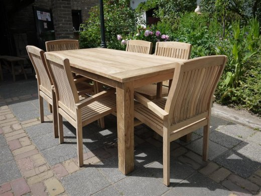 Teak Garden Table 180 X 90 Cm Reclaimed Teak Furniture