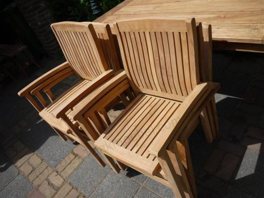 Teak garden chair stacking - Picture 2