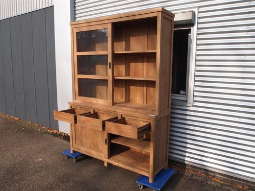 Teak display cabinet 160cm modern - Picture 8
