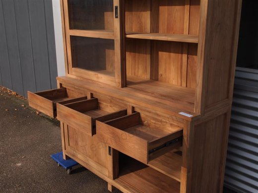 Teak display cabinet 160cm modern - Picture 9
