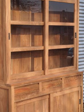 Teak display cabinet 160cm modern - Picture 11
