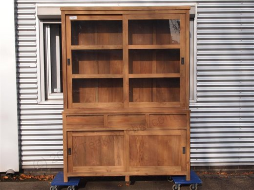 Teak display cabinet 160cm modern - Picture 12