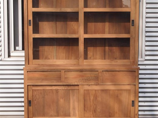 Teak display cabinet 160cm modern - Picture 10