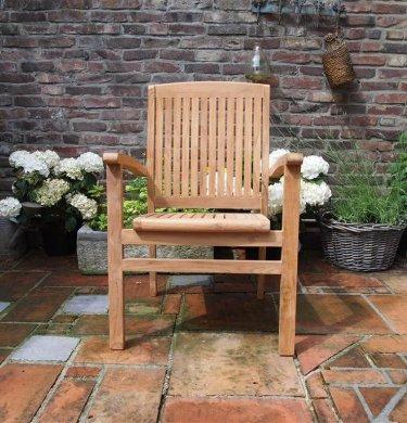 Teak garden chair stacking - Picture 12