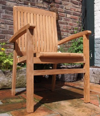 Teak garden chair stacking - Picture 10