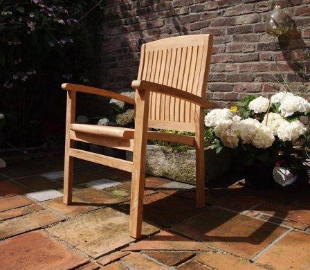 Teak garden chair stacking - Picture 11