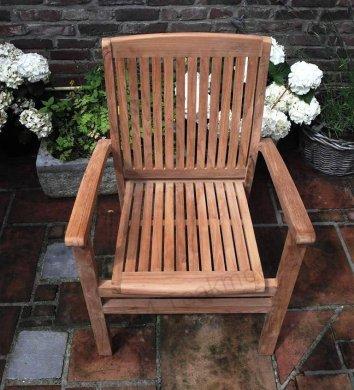 Teak garden chair stacking - Picture 7