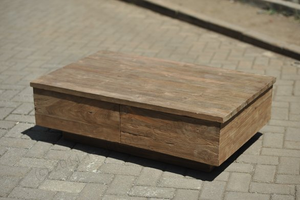 Teak coffeetable 110x70cm old brushed - Picture 0