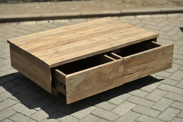 Teak coffeetable 110x70cm old brushed - Picture 1