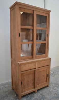 Teak display cabinet 100cm modern - Picture 2