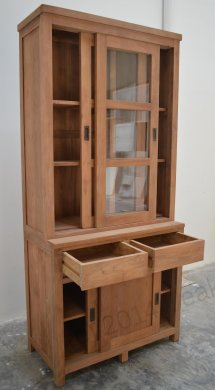 Teak display cabinet 100cm modern - Picture 1