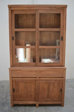 Teak display cabinet 120cm modern - Picture 3
