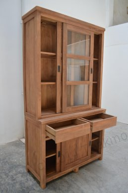 Teak display cabinet 120cm modern - Picture 2
