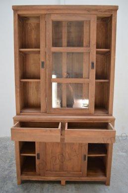 Teak display cabinet 120cm modern - Picture 1
