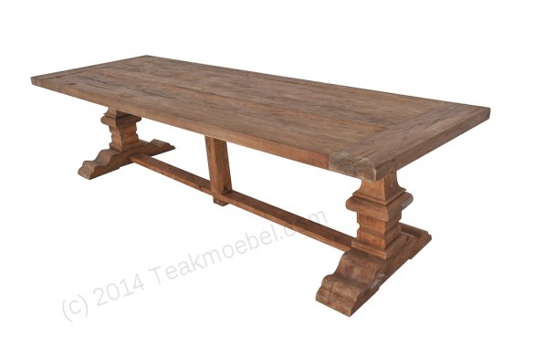 Teak refectory table 300x100cm - Picture 0
