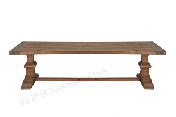 Teak refectory table 220x100cm - Picture 1