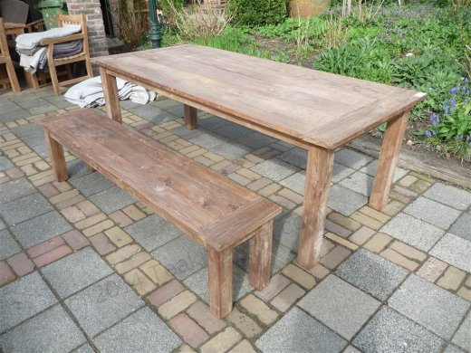 Teak table 220 x 100 cm reclaimed - Picture 9