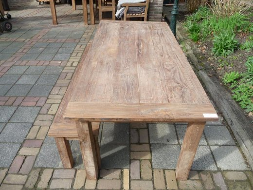 Teak table 220 x 100 cm reclaimed - Picture 0