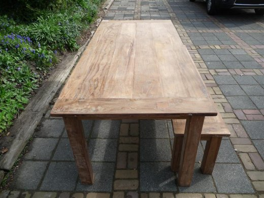 Teak table 220 x 100 cm reclaimed - Picture 4