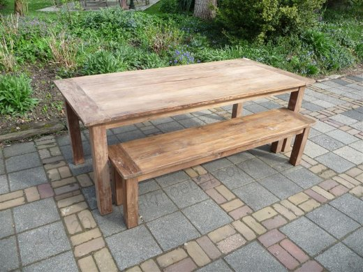 Teak table 220 x 100 cm reclaimed - Picture 1