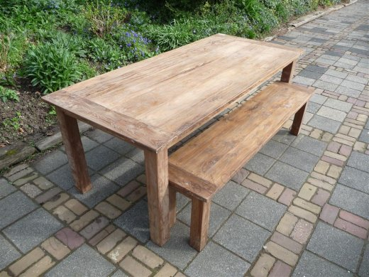 Teak table 220 x 100 cm reclaimed - Picture 2