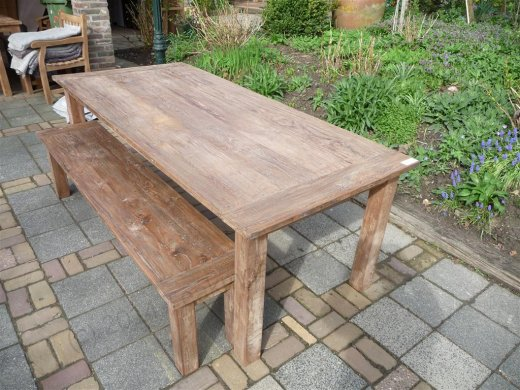 Teak table 220 x 100 cm reclaimed - Picture 3